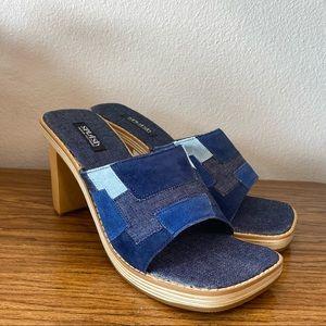 NWOT Y2K Patchwork Square Toe Heels